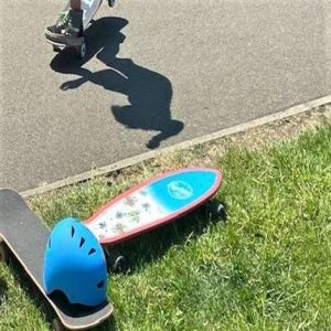 Shadowy Skater, boards and helmet