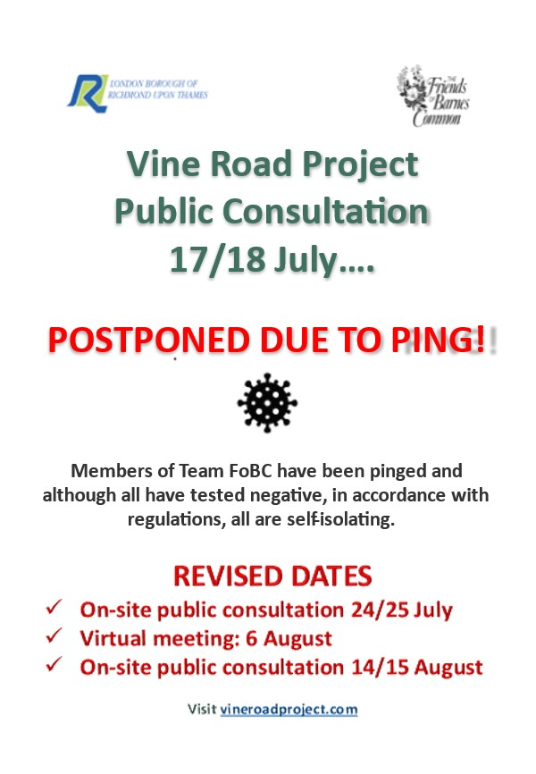 Poster with information about postponed consultation